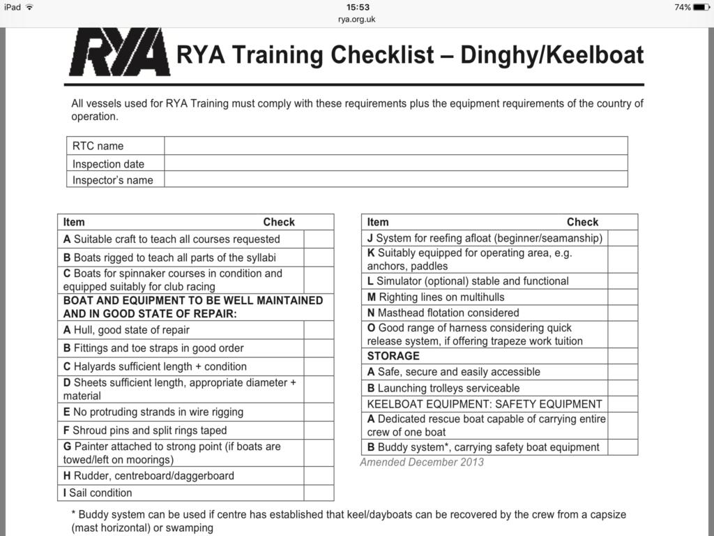 training checklist
